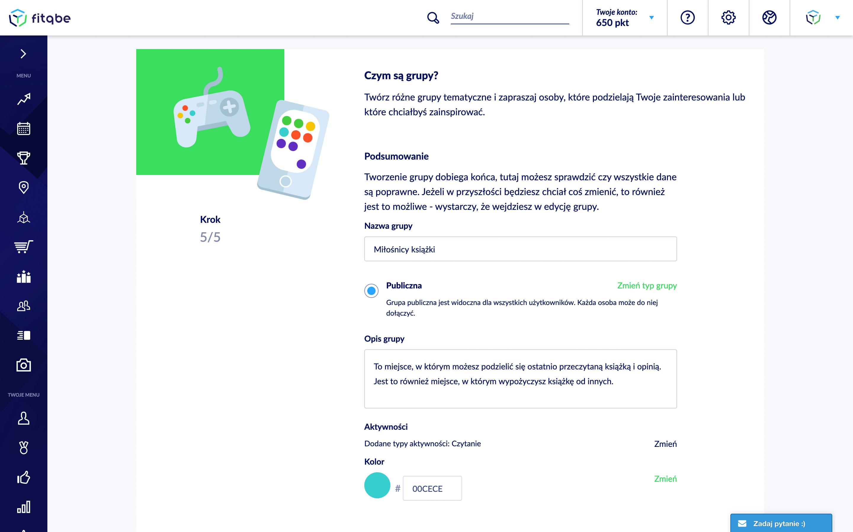 zrzut ekranu z platformy dotyczący tworzenia grupy