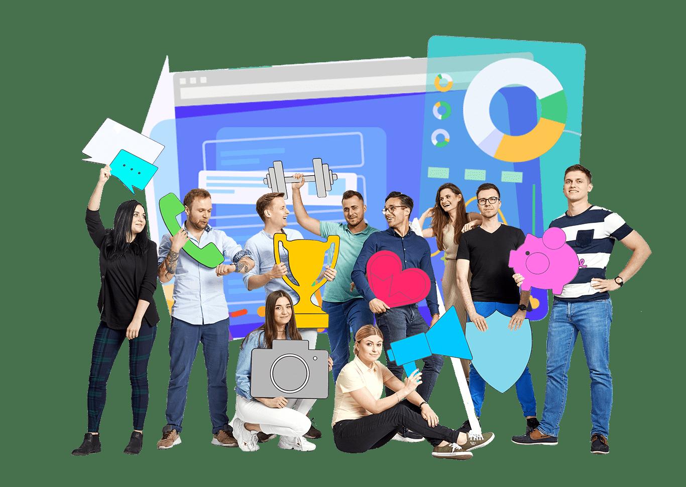 grupa osób trzymająca różne kolorowe grafiki przedmiotów takich jak telefon, puchar, aparat, sztangielka