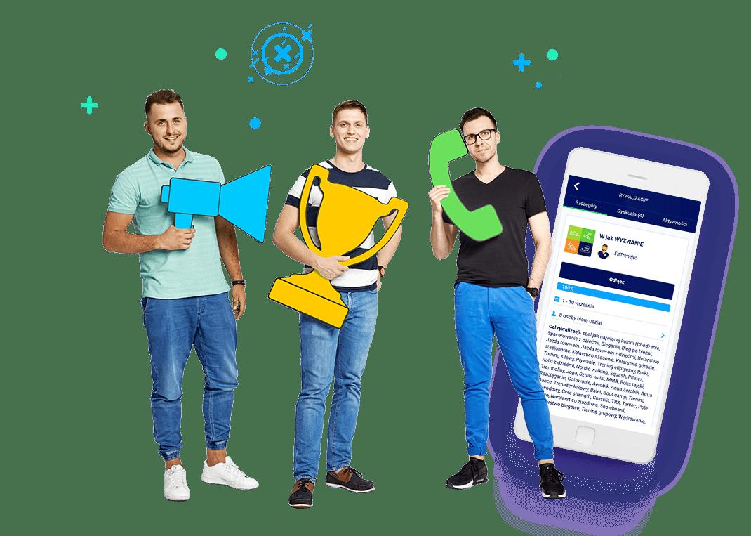"""trzech młodych mężczyzn na tle grafiki telefonu w wyświetlaną podstrona fitqbe """"wyzwanie"""""""