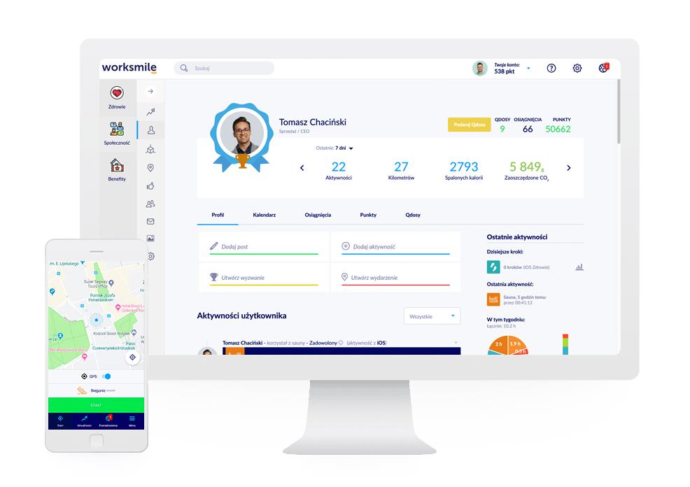 dostęp do platformy benefitowej Worksmile przez aplikację mobilną i stronę www
