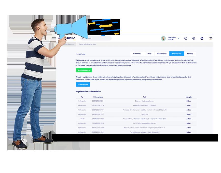Ankiety i powiadomienia Worksmile - Twórz proste i błyskawiczne ankiety wysyłając je przez platformę benefitową i aplikację mobilną