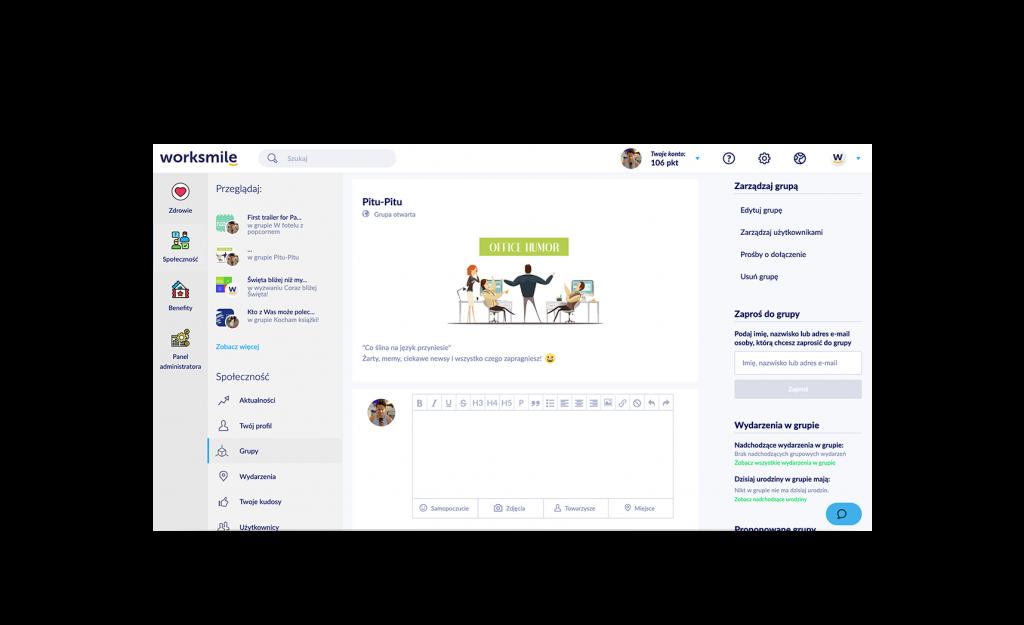 Społeczność firmowa Worksmile - komunikacja wewenętrzna w firmie - Grupy