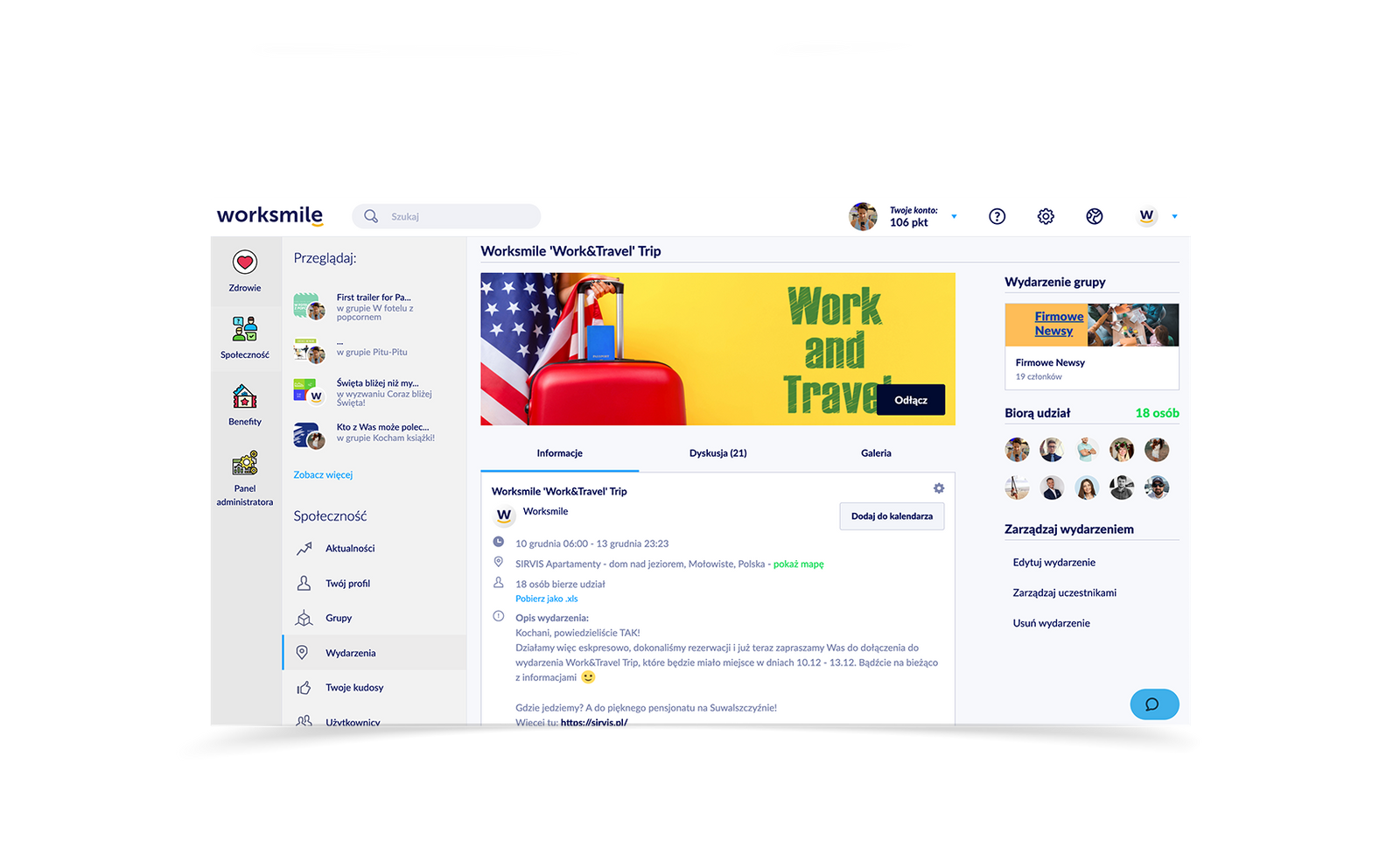 Wydarzenia firmowe Worksmile - deydykowane konkretnym grupom zainteresowanych